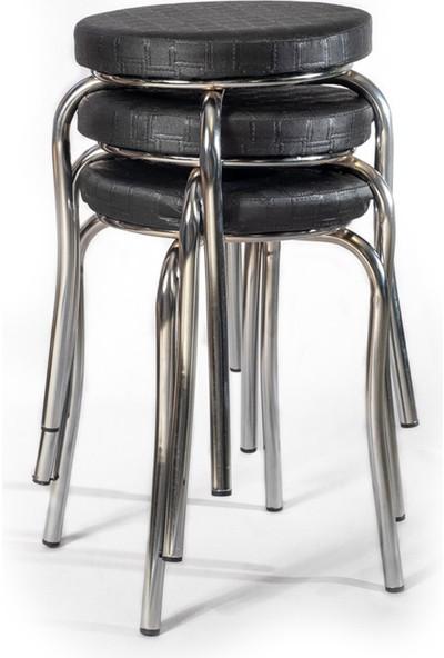 Ekip Shop Tabure Mutfak Sandalyesi 3 Adet Siyah