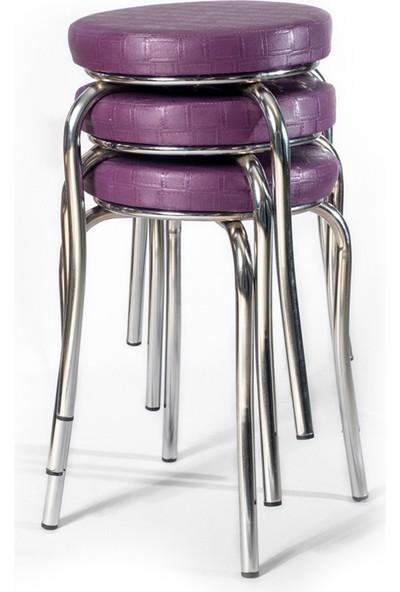 Ekip Shop Tabure Mutfak Sandalyesi 3 Adet Mor