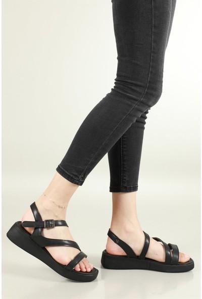Carla Bella Günlük Rahat Siyah Kadın Sandalet J-1140