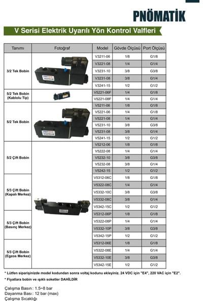 "Emc Yön Kontrol Valfi V5211E2-06 5/2 Bobin-Yay-1/8"" Govde-1/8"" Port-"