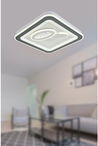 Luna Lighting Modern Krom LED Avize Aras Kare Model 50 Ledli Plafonyer Avize