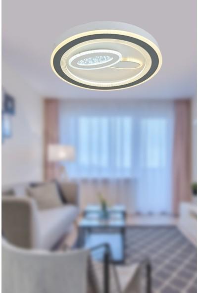 Luna Lighting Modern Krom LED Avize Aras Yuvarlak Model 50 Ledli Plafonyer Avize