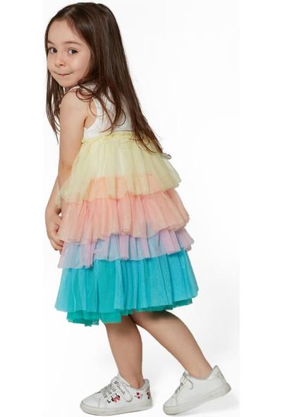 Colorinas Rainbow Tütü Elbise Kısa Kol Beyaz