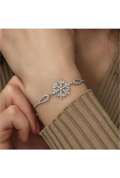 Ervanur 925 Ayar Gümüş Baget Taşlı Kar Tanesi Kadın Bileklik