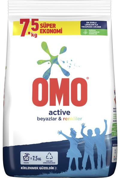Omo Active Toz Çamaşır Deterjanı Beyazlar ve Renkliler İçin 7.5 KG 50 Yıkama 1 Adet