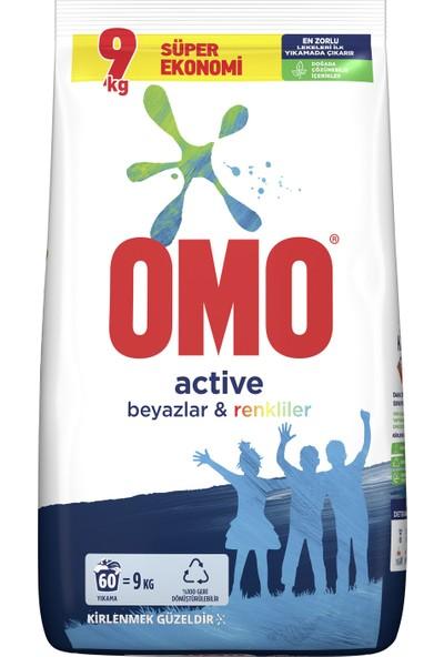 Omo Active Toz Çamaşır Deterjanı Beyazlar ve Renkliler İçin 9 KG 60 Yıkama 1 Adet
