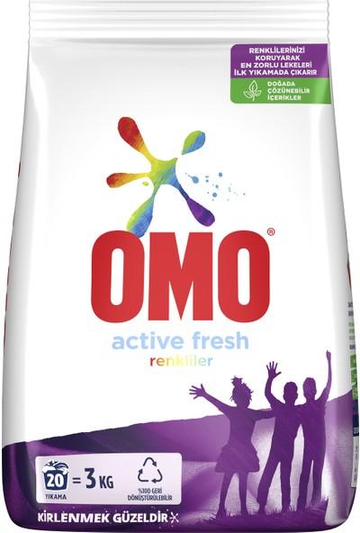 Omo Active Fresh Toz Çamaşır Deterjanı Renkliler İçin Renklilerinizi Koruyarak En Zorlu Lekeleri İlk Yıkamada Çıkarır 3 KG 20 Yıkama 1 Adet