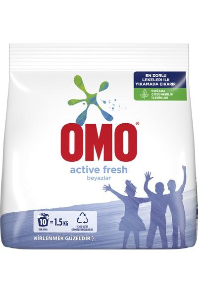 Omo Active Fresh Toz Çamaşır Deterjanı Beyazlar İçin En Zorlu Lekeleri İlk Yıkamada Çıkarır 1.5 KG 10 Yıkama 1 Adet
