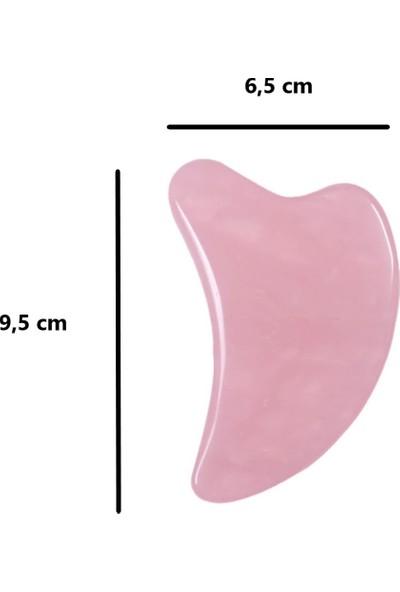 Ankaflex Pembe Kuvars Gua Sha Taşı Extra Büyük Kalp Gua Sha Yüz ve Vücut Bakımı Keseli