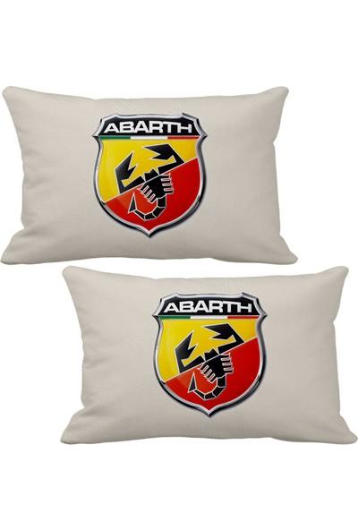 Asr Abarth Egzos Fiat 2 Li Lüks Araç Boyun Yastığı Bej ve Ahşap Logo Anahtarlık