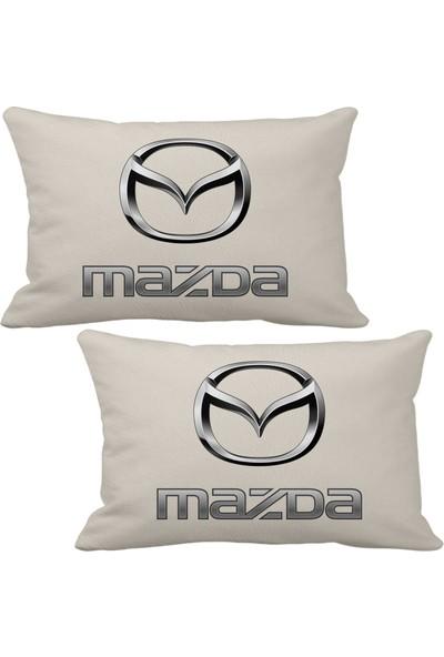 Asr Mazda 2 Li Lüks Araç Boyun Yastığı Bej ve Ahşap Logo Anahtarlık