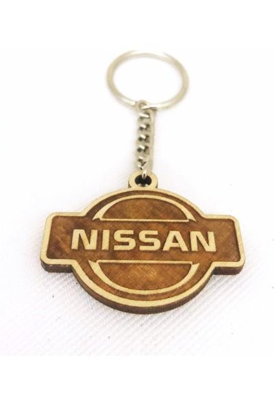 Asr Nissan 2 Li Lüks Araç Boyun Yastığı Bej ve Ahşap Logo Anahtarlık