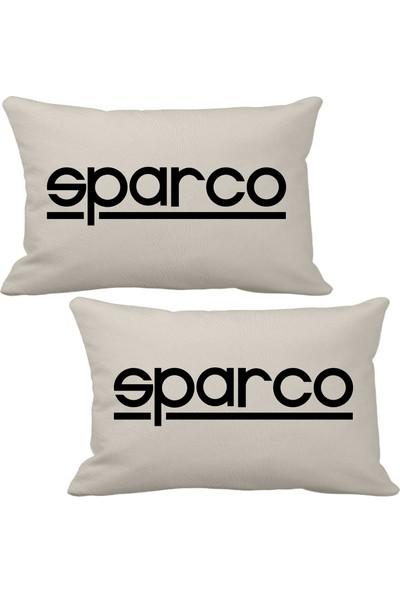 Asr Sparco 2 Li Lüks Araç Boyun Yastığı Bej ve Ahşap Logo Anahtarlık