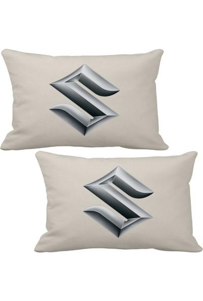 Asr Suzuki Logo 2 Li Lüks Araç Boyun Yastığı Bej ve Ahşap Logo Anahtarlık
