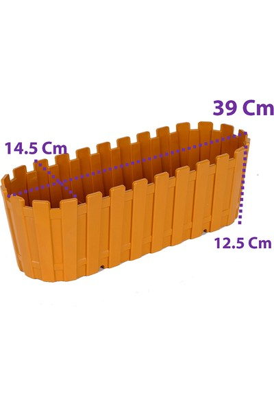 Bimbambom 40 cm Renkli Akasya Çit Saksı 4 Adet, Bahçe Balkon Saksı