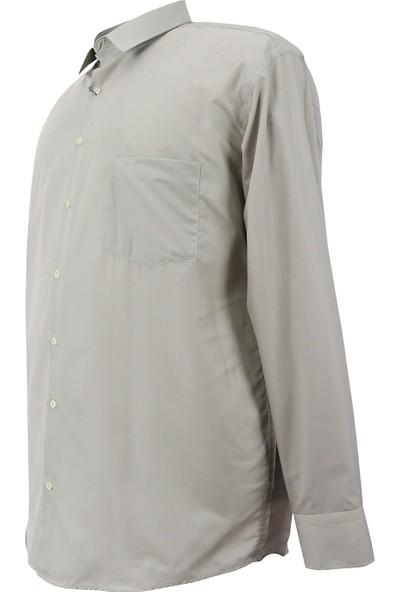 Bettino Erkek Büyük Beden Battal Boy Uzun Kol Klasik Gömlek Bej