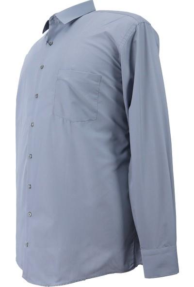 Bettino Erkek Büyük Beden Battal Boy Uzun Kol Klasik Gömlek Gri