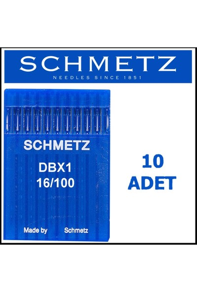 Schmetz Dbx1 Suk Düz Makinesi Iğnesi 16/100 Numara