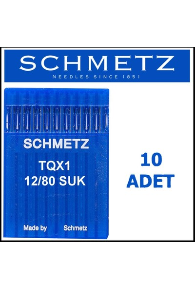 Schmetz Tqx1 Suk Düğme Makinesi Iğnesi 12/80 Numara