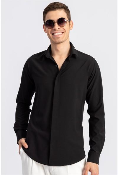 Tudors Slım Fit Dar Kesim Düz Likralı Elestan Siyah Erkek Gömlek