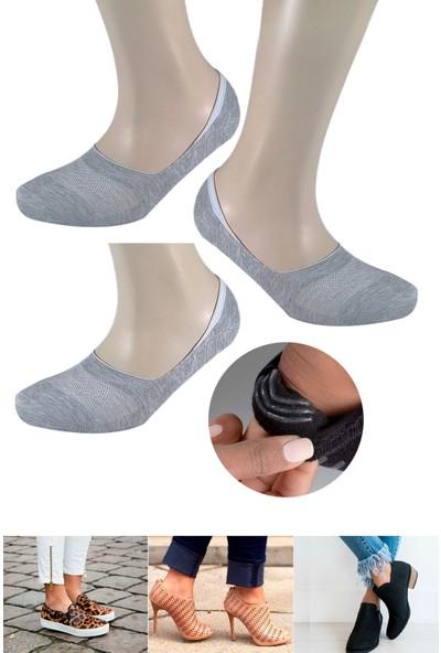 Fandd Kadın Gri Bambu Silikonlu Dikişsiz Görünmez Çorap Dikişsiz Burun Kokulu 3 Çift