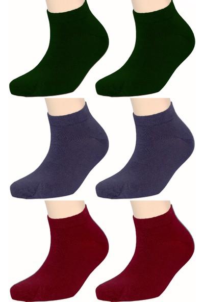 Fandd Erkek Bambu Çorap Patik Dikişsiz Kokulu 6 Çift (Paket Içi 2 Mavi, 2 Bordo, 2 Yeşil)