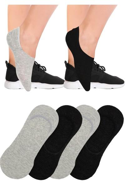 Fandd Görünmez Babet Çorabı 4 Çift (2 Siyah 2 Gri)