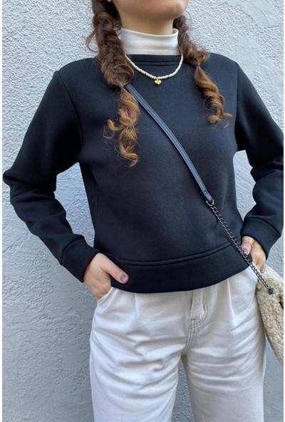 Fandd Siyah Mavi Crop Top Kısa Sweatshirt
