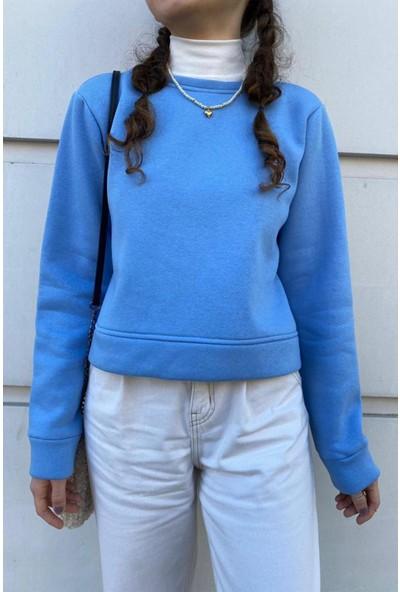 Fandd Kadın Mavi Crop Top Kısa Sweatshirt