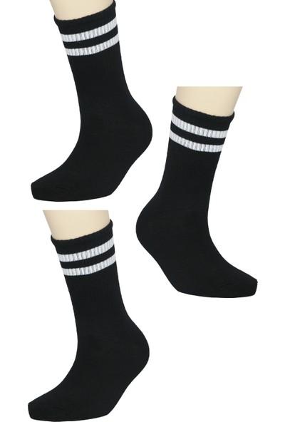Fandd 3'lü Siyah Şeritli Kolej Tenis Çorap