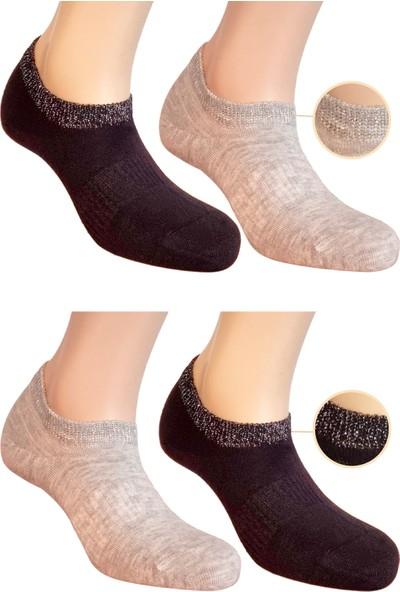 Fandd Kadın Simli Bambu Çorap Patik 200 Iğne Dikişsiz Burun Kokulu 4 Çift