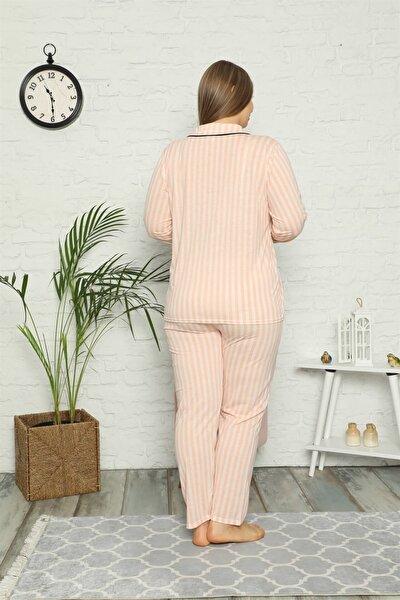 Akbeniz Kadın Pamuklu Cepli Uzun Kol Büyük Beden Pijama Takım 202098