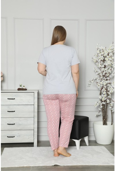 Akbeniz Kadın %100 Pamuk Cepli Kısa Kol Büyük Beden Pijama Takım 202101