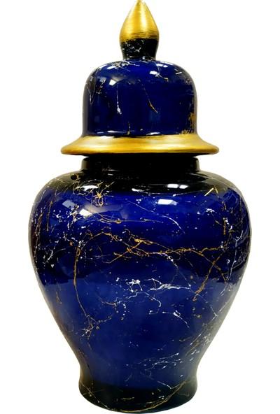 Otogar Çini El Yapımı 30 cm Çini Şah Küp Lacivert Renk-Gold Yaldızlı-Mermer Dekorlu