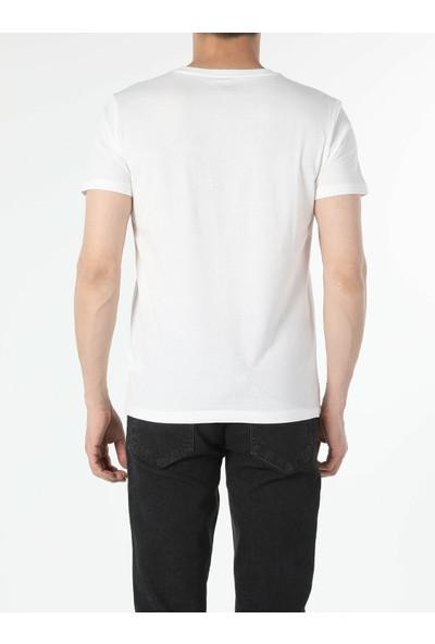 Colin's Regular Fit Bisiklet Yaka Örme Erkek Beyaz Kısa Kol Tişört
