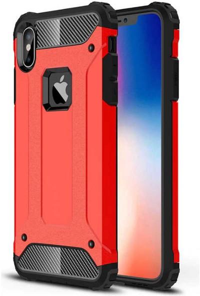 Canpay Apple iPhone x Kılıf Armor Serisi Rugged Hard Case Kırmızı