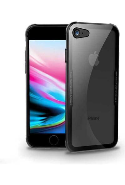 Canpay Apple iPhone 7 Kılıf Cam Arka Kapak 0,55MM Tempered Glass Siyah