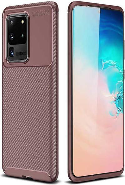 Canpay Samsung Galaxy S20 Ultra Kılıf Legion Series Fiber Style Soft Case Kahverengi