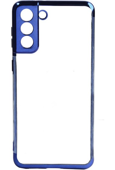 Canpay Samsung Galaxy S21 Plus Kılıf Laser Paint Transparent Soft Series Mavi