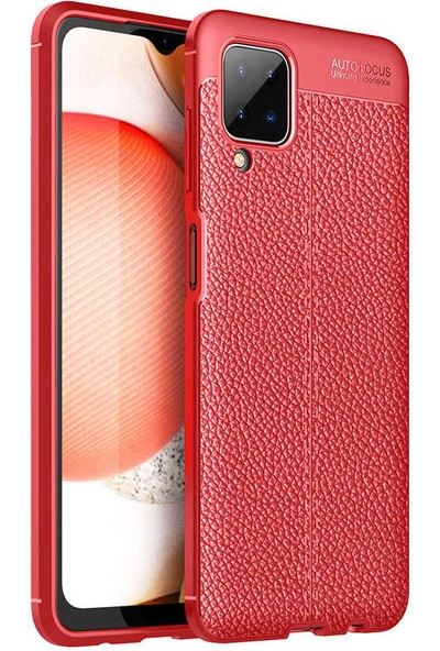 Canpay Samsung Galaxy A12 Kılıf Leather Serisi Pu-Deri New Style Soft Case Kırmızı