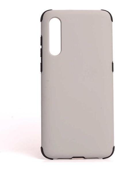 Canpay Samsung Galaxy A50 Kılıf Absorbing Sert Pürüzsüz Süet Kaplama Gri