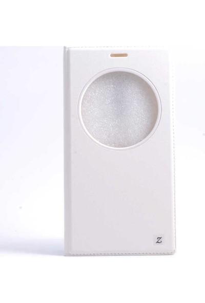 Canpay Asus Zenfone 2 Laser (ZE601KL) Kapaklı Kılıf Smart Pencere ve Gizli Mıknatıs Kapak Sistemi Beyaz