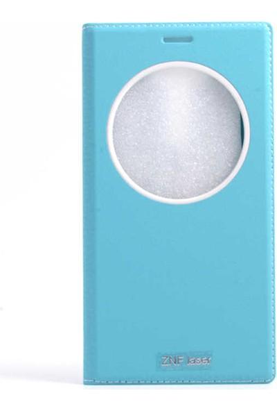 Canpay Asus Zenfone 2 Laser (ZE601KL) Kapaklı Kılıf Smart Pencere ve Gizli Mıknatıs Kapak Sistemi Turkuaz
