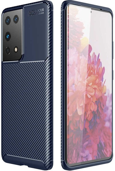 Canpay Samsung Galaxy S21 Ultra Kılıf Legion Series Fiber Style Soft Case Lacivert