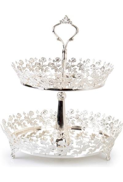 Ipek Gümüş Iki Katlı Kurabiyelik Ikramlık Gümüş