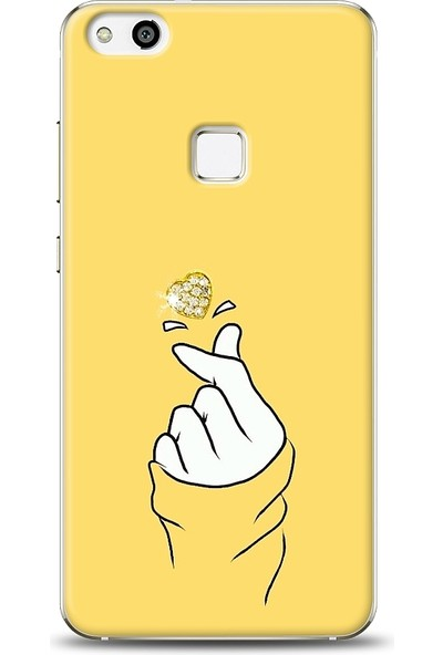 Eiroo Huawei P10 Lite Finger Heart Taşlı Baskılı Tasarım Kılıf