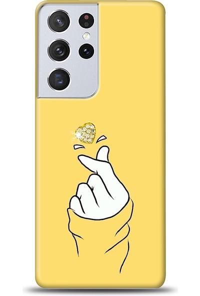 Eiroo Samsung Galaxy S21 Ultra Finger Heart Taşlı Baskılı Tasarım Kılıf