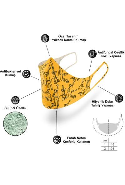 Mutlu Maske Yazlık Serisi Siyah Renkli Puantiye Çiçekli Desenli Yıkanabilir Bez Kumaş Nano Yüz Maskesi 3'lü Set
