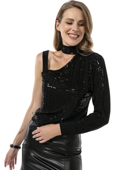 Moda Gusto Tek Kollu Omuz Askılı Payet Detaylı Siyah Bluz