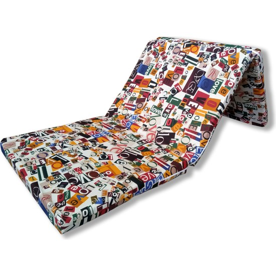 Cmkstore Katlanır Yer Yatağı ve Yer Minderi Tek Kişilik Sünger Yatak 70 x 180 cm 6 cm Love